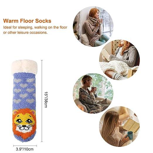 Women Winter Non-slip Floor Socks Cute Animals Super Soft Warm Fuzzy Slipper Socks 2 Pairs at Amazon Womens Clothing store:
