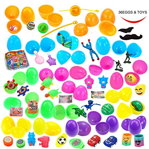 36-Toys-Filled-Easter-Eggs-225-Inches-Bright-Colorful-Prefilled-Plastic-Surprise-Eggs-with-18-Kinds-Popular-Toys-for-Easter-Basket-Stuffers-Fillers-Egg-Hunt-Party-etc-by-Joyin-Toy