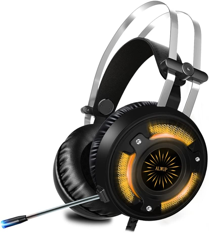 ALWUP Cascos PS4 Gaming,Auriculares Gaming PS4 Xbox One con Micrófono,Auriculares PC Game Graves Profundos Sonido Estéreo Anti-Ruido y Luces LED USB para Playstation Nintendo Switch Laptop Computer