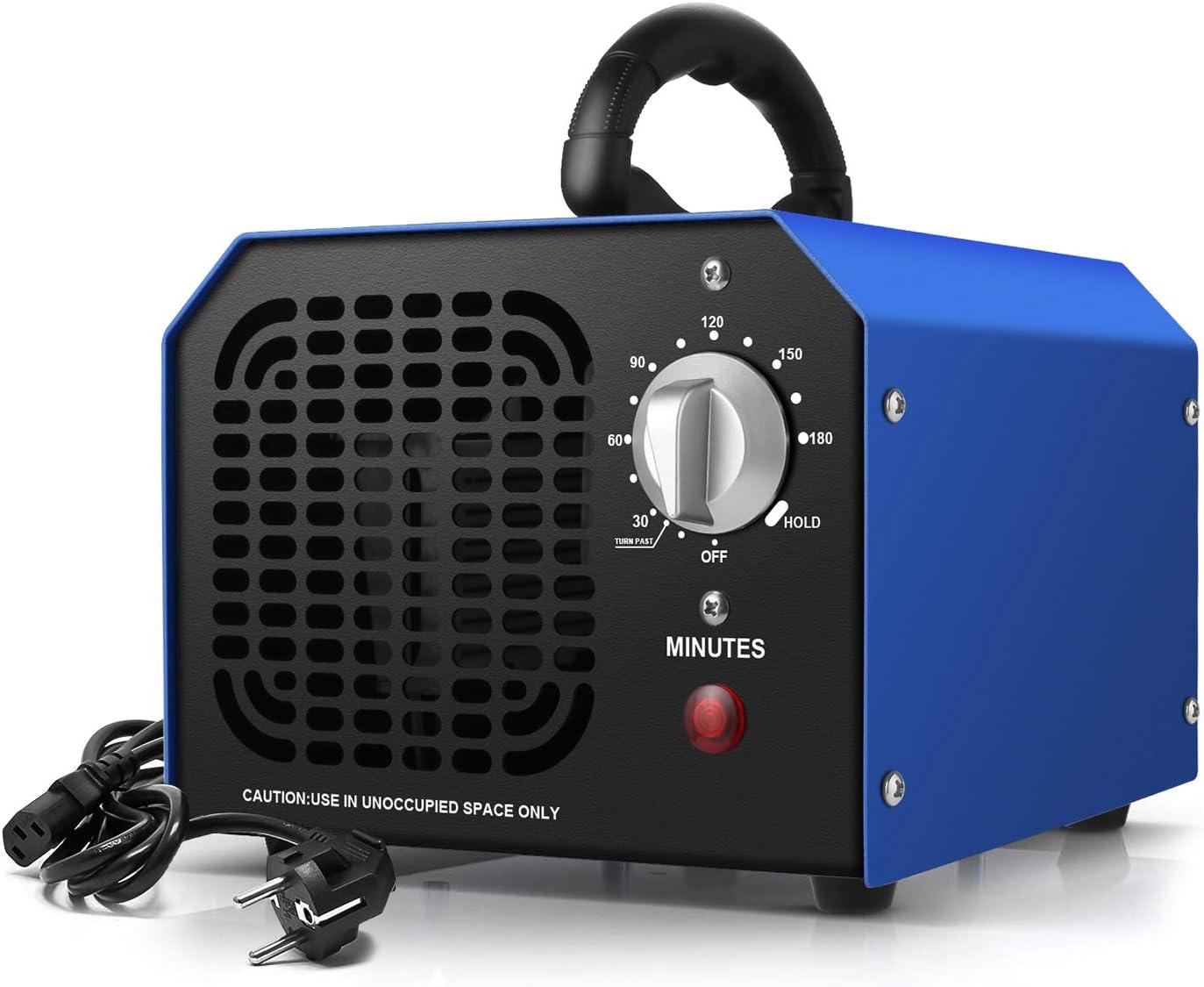 Generador de ozono Ozonizador 6000 MG/ h, Purificador de Aire Industrial para Dormitorio, Humo, Automóviles y Mascotas