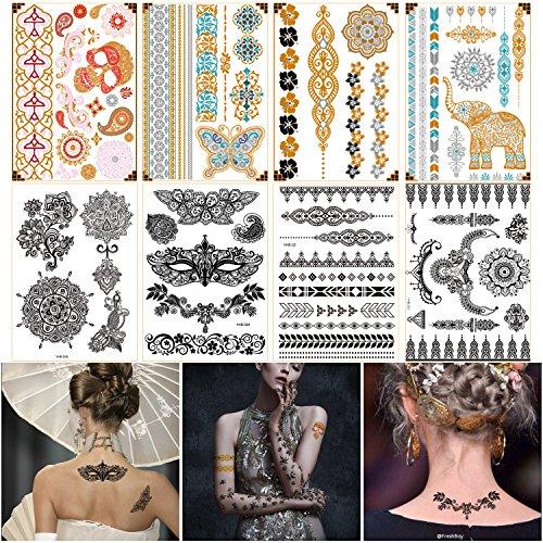 Best Temporary Henna Tattoo Designs - Metallic Gold, Silver & Black Henna Body Art Sticker,Fake Arm Back Chest Wrist Tattoos for Women Girls (Gold&Black (Cool Easy Halloween Nail Designs)