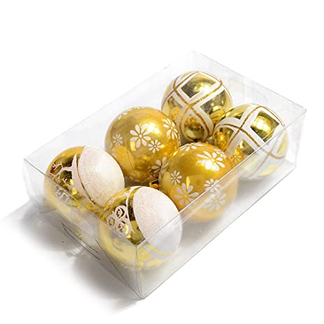 gold with white glitter christmas balls ornaments for christmas tree decor ball colorful balls decorations - White And Gold Christmas Ornaments