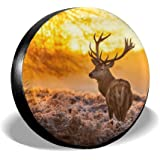 Vbnbvn Reserveradabdeckung Deer Polyester Universal Waterproof Sunscreen Wheel Covers for Jeep Trailer RV SUV Truck and Many Vehicles 14 15 16 17