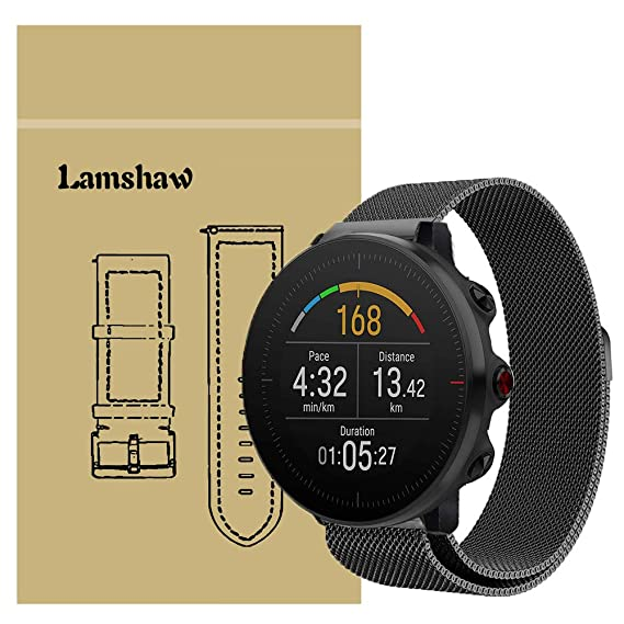 for Polar Vantage M Band, Lamshaw Quick Release Milanese Metal Stainless Steel Mesh Replacement Strap for Polar Vantage Smartwatch (Black)