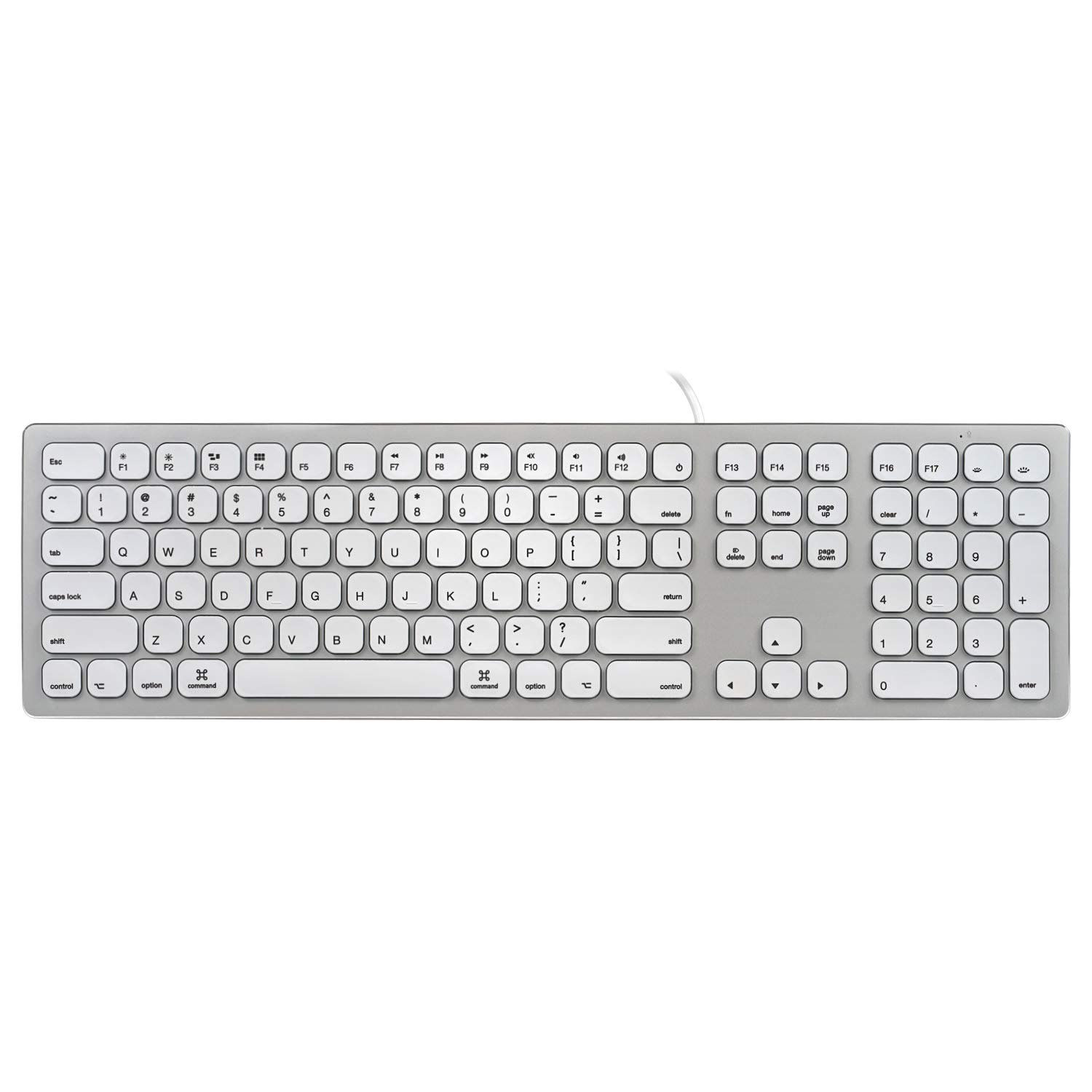 Perixx PERIBOARD-325 MW - Wired Backlit Aluminum Keyboard - Compatible with Mac OS X - Full Size Design - Silent Scissor Keys - 2 x USB 2.0 Hubs