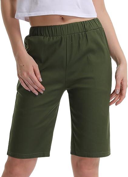 87495bde43 Gooket Women's Casual Elastic Waist Knee-Length Bermuda Shorts Army Green  Tag M-US