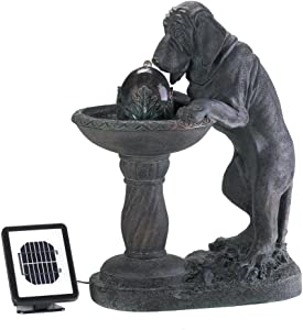 Thirsty Dog Faux Bronze Garden Solar Water Fountain