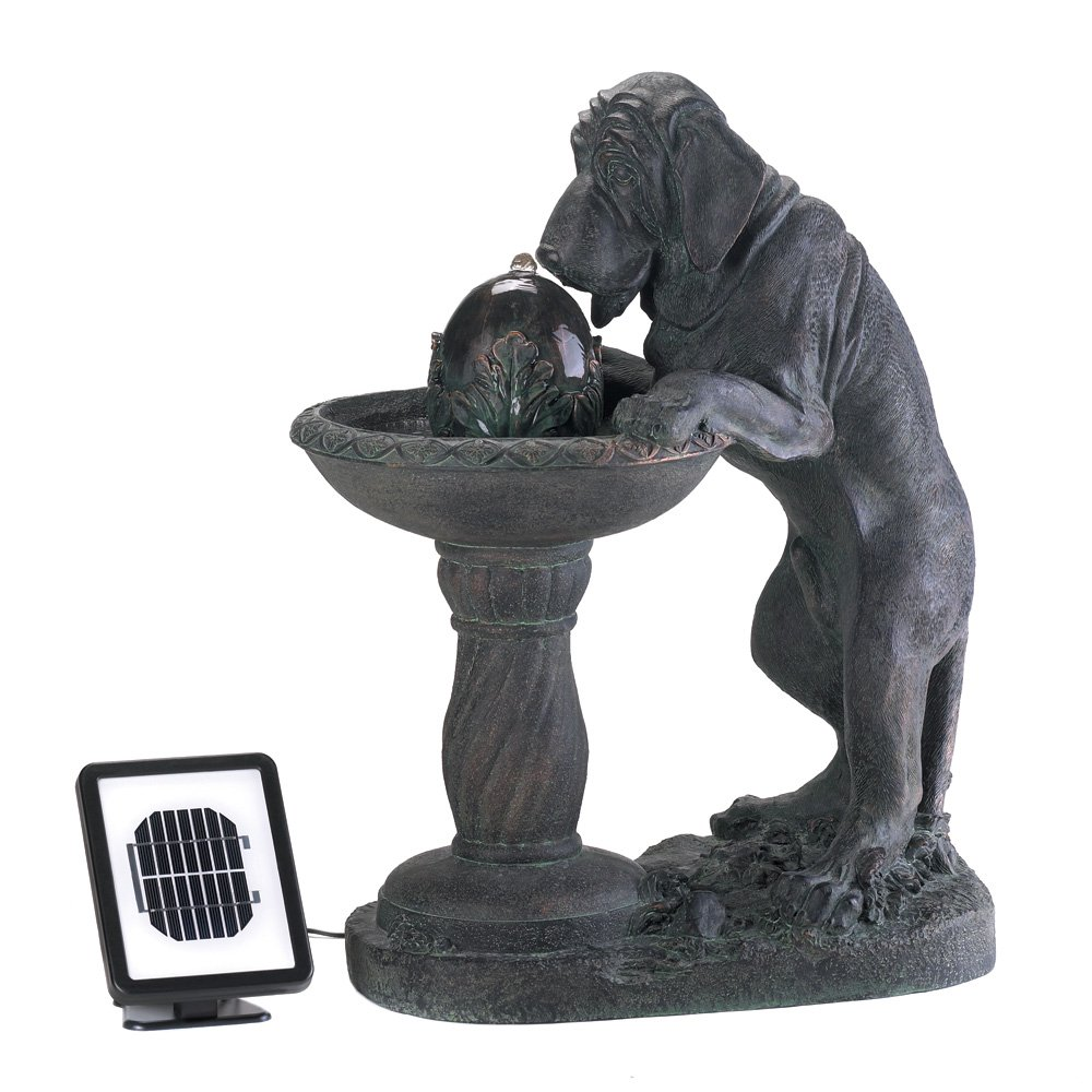 Koehler Home Decor Thirsty Dog Whimsical Faux Bronze Outdoor Garden Solar Fountain Statue