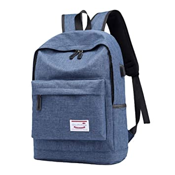 LINNUO Mochila para Portátil con USB Cargador Backpack School Mochilas Escolares Casual Bolso de Viaje Mochilas de a Diario Ciclismo (Azul,29 * 14 * 43cm): ...