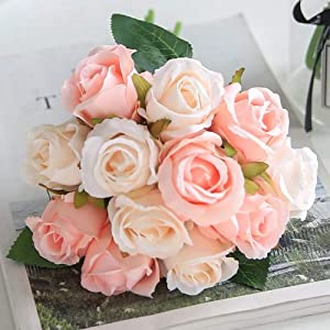 Jasion Artificial Roses Flowers 12 Heads Arrangement Silk Bouquet for Home Office Parties Bridal and Wedding Decoration (Pink with Champagne)