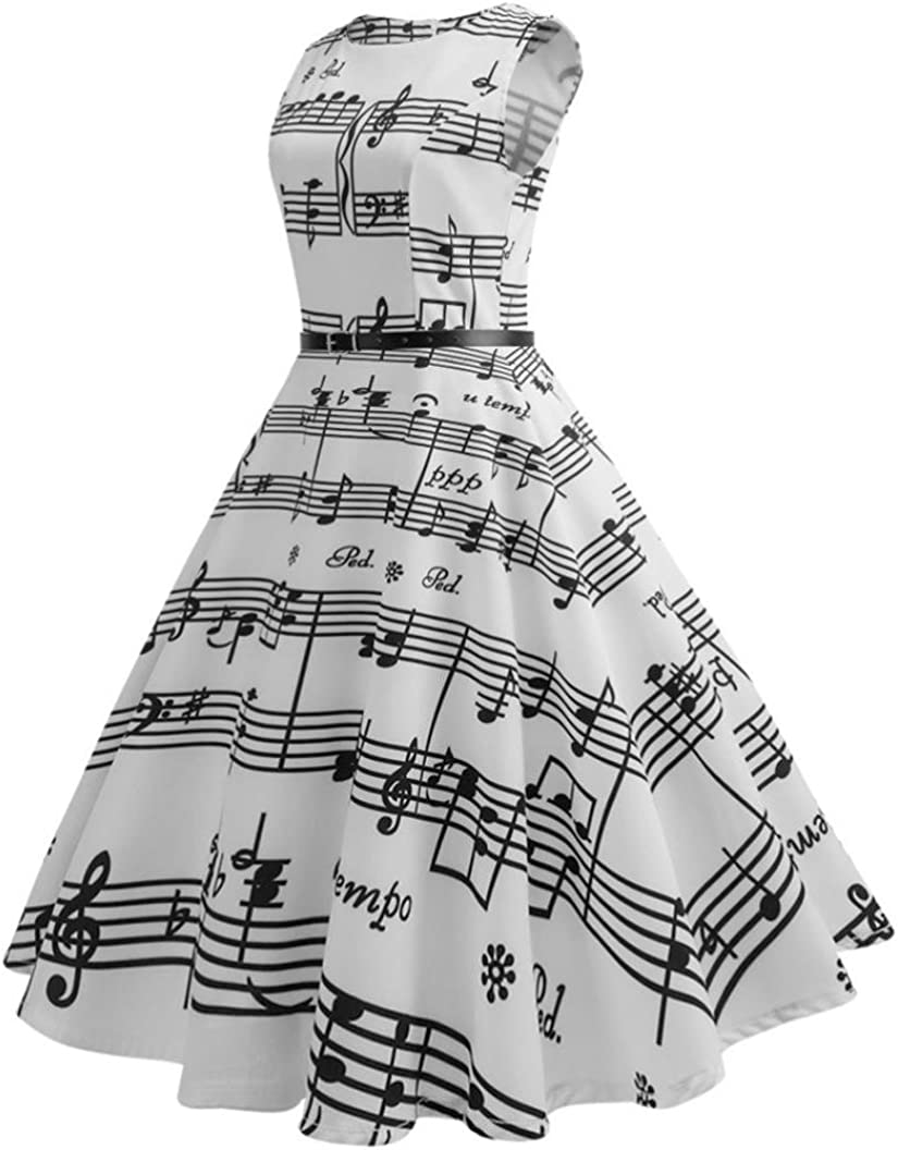 Kword Vestito Donna Donne Note Musicali Stampati Abito in Vita 50 Anni Bodycon Vintage Senza Maniche Abito Casual per La Sera Prom Swing Party