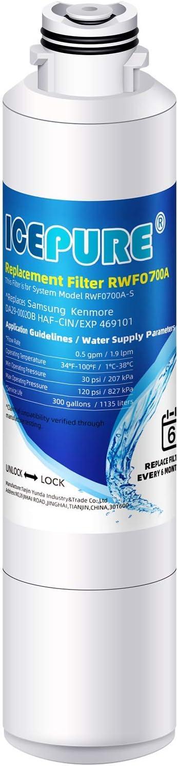 ICEPURE DA2900020B Refrigerator Water Filter Replacement for Samsung DA2900020B, DA2900020A,haf-cin,rf263beaesr,rf28hfedbsr,rf261beaesr,rf28jbedbsg,da97-08006a 1 pack