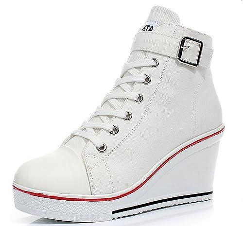 Wealsex Mujer Cuñas Zapatos de Lona High-Top Zapatos Casuales Encaje Hebilla Talla Grande 35-43: Amazon.es: Zapatos y complementos