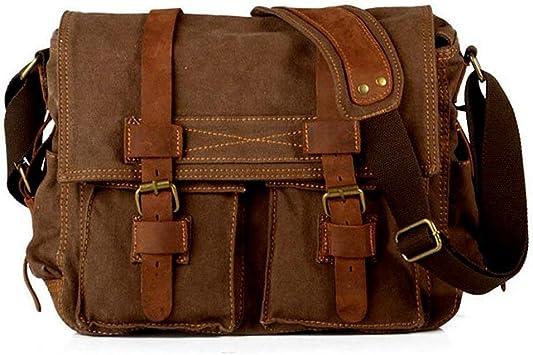 Men/'s Canvas Leather Schoolbag Satchel CrossBody Laptop Shoulder Messenger Bag