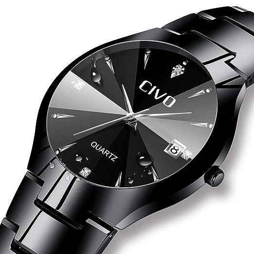 df81247628b Mens Watches Black Men Stainless Steel Luxury Business Analogue Quartz Watch  Date Calendar Fashion Dress Classical Simple Designer Watches for Men  ...