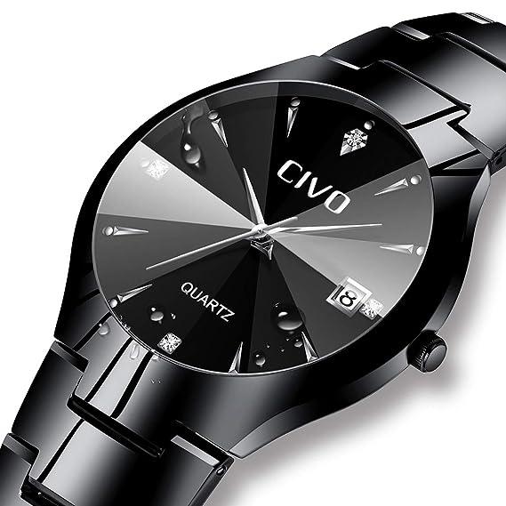 Relojes para Hombres Reloj de Acero Inoxidable Negro Clásico de Lujo  Analógico Cuarzo Fecha de Negocios Calendario Vestido de Moda Clásico  Diseñador Simple ... 66dfab53ba0c