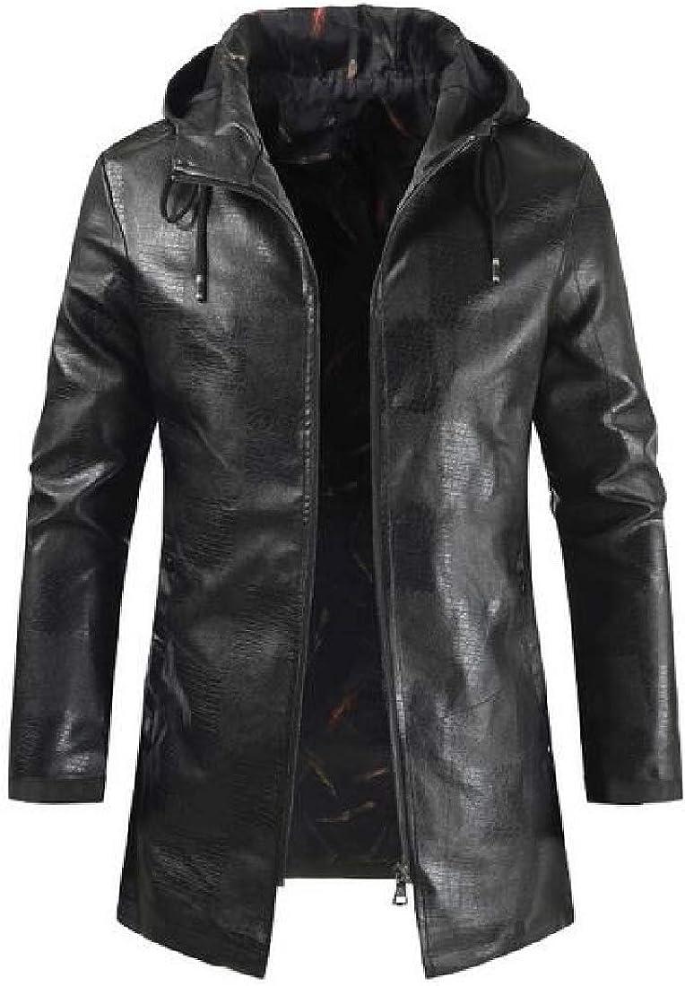 FSSE Women PU Leather Lapel Casual Moto Biker Zip Front Pu Leather Coat Jacket