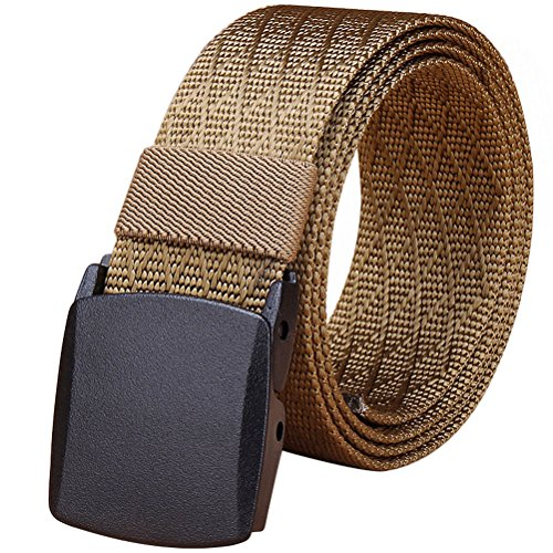 - Fairwin Men's Military Tactical Web Belt, Nylon Canvas Webbing YKK Plastic Buckle Belt (Brown)