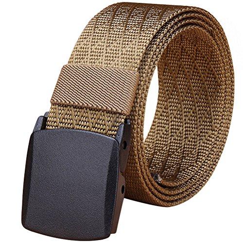 (Fairwin Men's Military Tactical Web Belt, Nylon Canvas Webbing YKK Plastic Buckle Belt (Brown) )