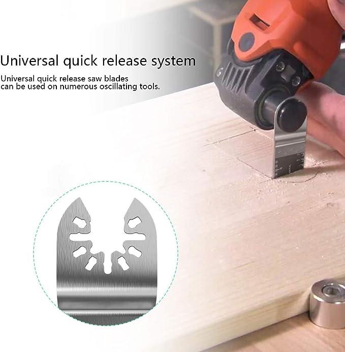 Fafeicy 50 pcs m/étal bois oscillant multitool lames de scie /à d/égagement rapide compatibles le plastique le m/étal mou outil id/éal pour couper le bois
