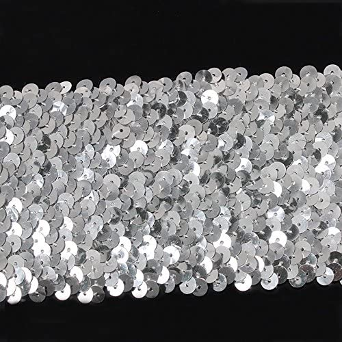 2yards 9row Beaded Silver Sequin Elastic Stretch Trim Lace Ribbon Trimming Tape Applique Sewing Supplies for Dance Dress T1636