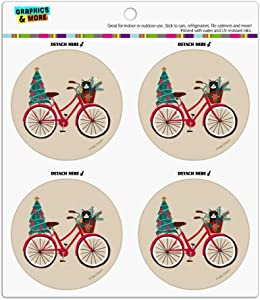 Christmas Bicycle Bike and Cat in Basket Refrigerator Fridge Locker Vinyl Circle Magnet Set
