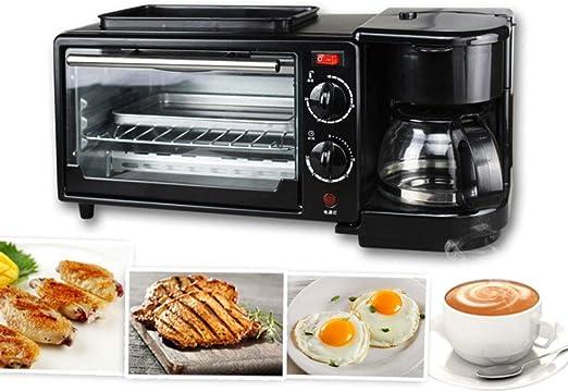 Máquina multifuncional para el desayuno, cafetera, hornos eléctricos Mini autoayuda tres en uno, máquina de café, 450 vatios - 0.5 litros, negro: Amazon.es: Hogar