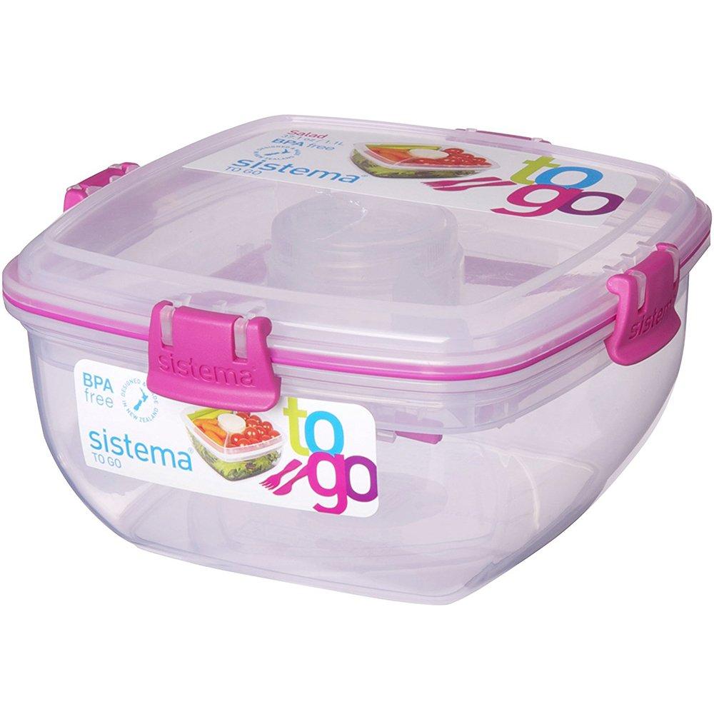 Compra Sistema Salad To Go - Recipiente de plástico para ensaladas con compartimento para cubiertos y salsas, 1, 1 L en Amazon.es