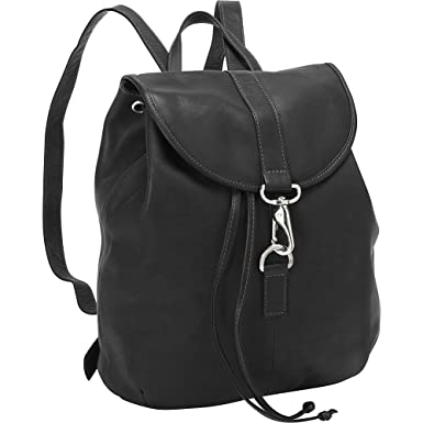Amazon.com | Piel Leather Medium Drawstring Backpack, Black, One ...