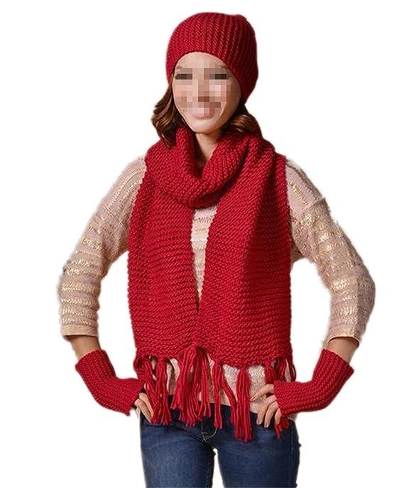 Hippolo - Ensemble bonnet, écharpe et gants - Femme rouge Red  Amazon.fr   Bagages dccb2ad4729