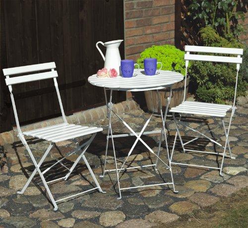 Amazon.de: Bistrotisch + 2 Stühle in weiß aus Metall und Holz ...