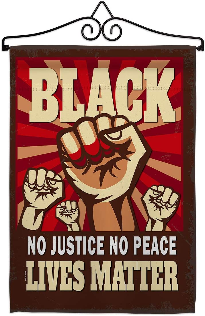 No Justice Peace Garden Flag - Set Wall Hanger Support Cause BLM Anti Racism Revolution Movement Equality Social - House Decoration Banner Small Yard Gift Double-Sided Made In USA 13 X 18.5