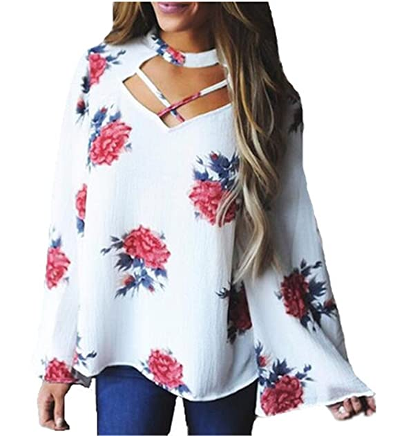 Aivosen Tshirt Manga Larga Mujeres Tallas Grandes Camisas Relajado Tops Elegante Moda Impreso Camiseta Blusa: Amazon.es: Ropa y accesorios