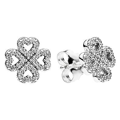 cd6a4095f Pandora Clover Stud Earrings with Cubic Zirconia 290626CZ: Pandora:  Amazon.co.uk: Jewellery