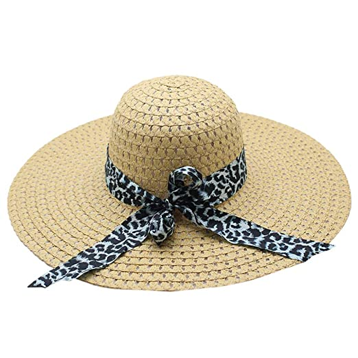482f85ed5 MALLOOM Women Beach Hats Summer Fashion Visor Floppy Hats Leopard ...