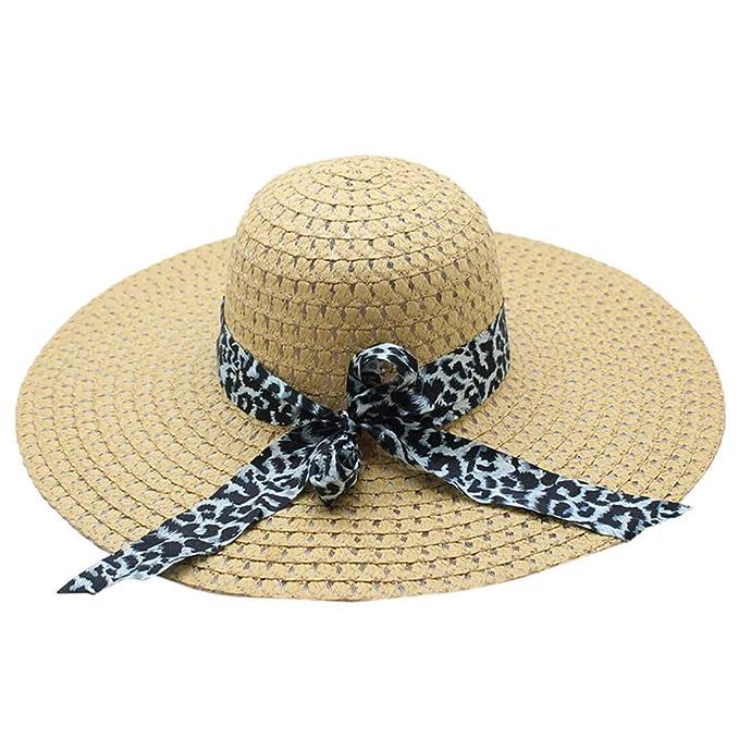 08689c18e Leopard Print Big Brim Straw Hat Women Sun Floppy Wide Brim Hats ...