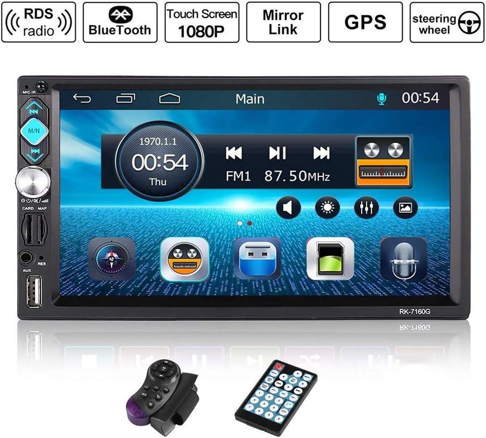 Autoestéreos 2 din 7 pulgadas Radio Pantalla táctil GPS Navegación Bluetooth Radio de coche con RDS/TF/USB/FM, Coche Autorradio MP5 Jugador, Control remoto