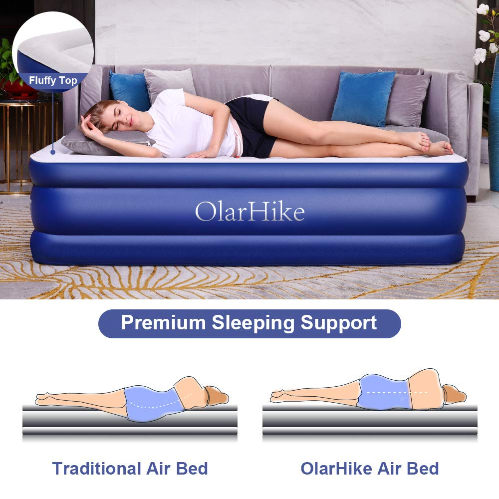 Blue, 75/×40/×18in Twin OlarHike Inflatable Airbed Queen//Twin Size Raised Elevated Blow up Air Mattress for Guests Soft Flocked Top /& Premium Sleeping Support Air Mattresses VWFHQE8