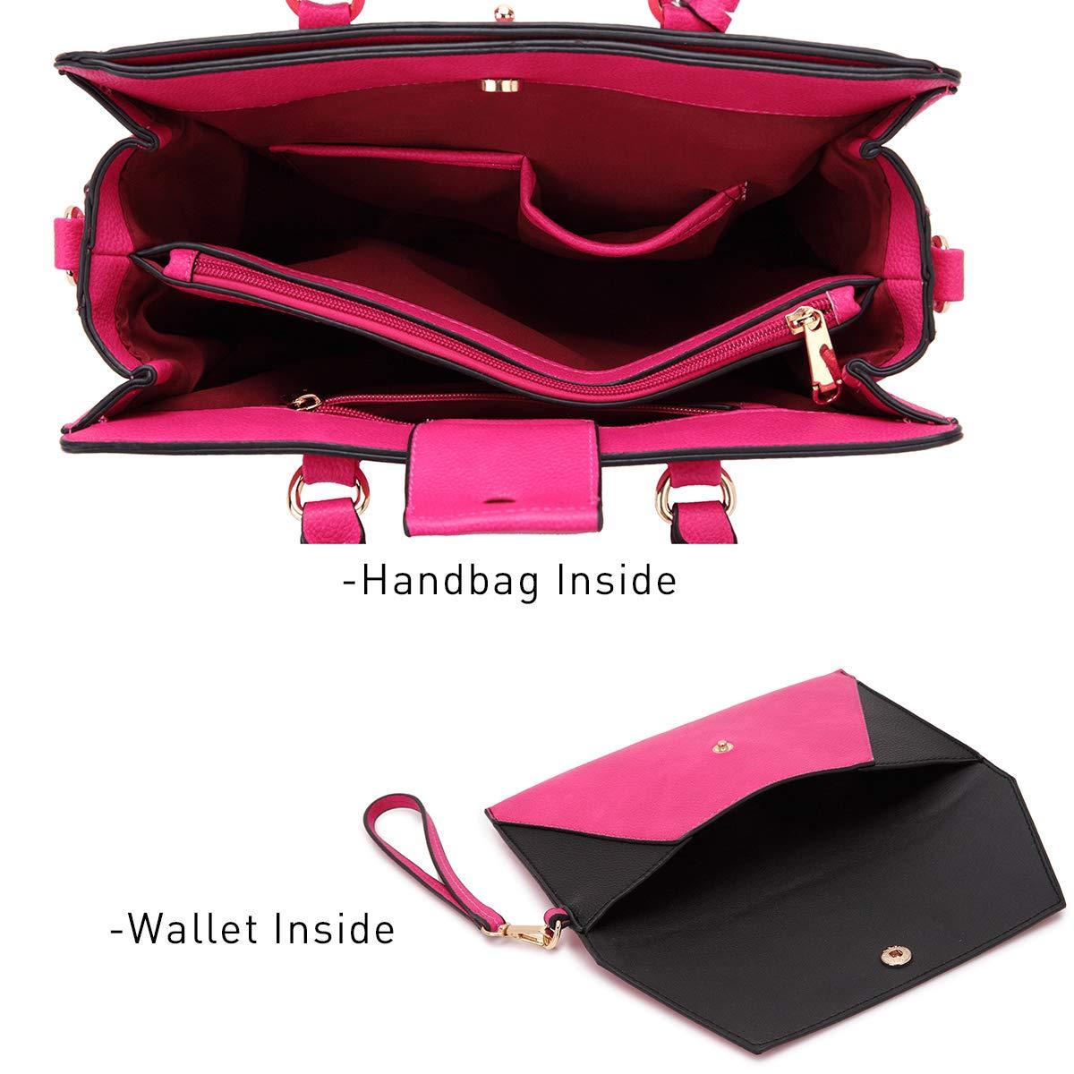 Women's Fashion Handbags Tote Purses Shoulder Bags Top Handle Satchel Purse Set 2pcs 01- Fuchsia by Dasein (Image #3)
