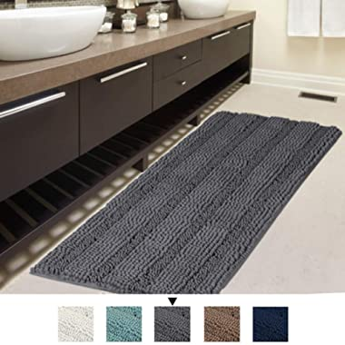 Bath Rug Runner 47  X 17  Large and Luxury Grey Striped Bath Mat Runner Ultra Soft Thick Non Slip Washable, Plush Shaggy Chenille Bathroom Rug Mat for Indoor Floor/Entry Way