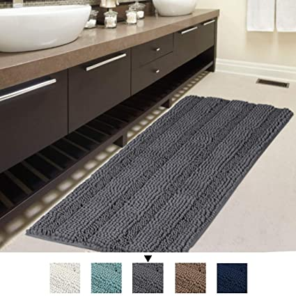 "ce9d5760eb97 H.VERSAILTEX Bath Rug Runner 47"" X 17"" Large and Luxury Grey  Striped"