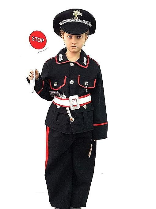PICCOLI MONELLI Costume carabiniere Bambino 8 Anni Vestito Poliziotto di  Carnevale con Accessori Paletta Stop 82f0b59f7370