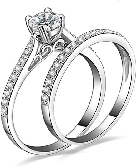 Cubic Zircons Promise Ring Double Cross White Cz Sz 5-11 MoAndy 925 Sterling Silver Ring