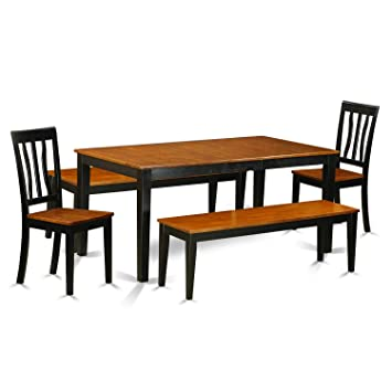 Amazon.com: NIAN5N-BCH-W 5 Pc Dining room set with bench ...