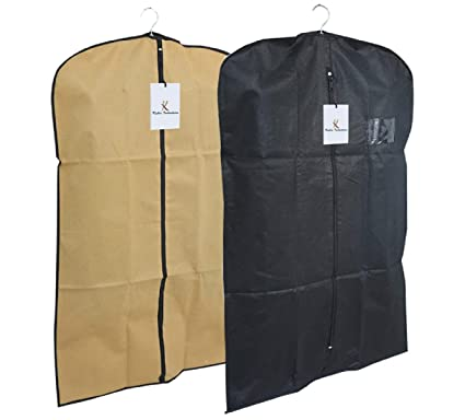 4c826f29b08a Kuber Industries™ Men s Coat Blazer Cover Foldover Breathable Garment Bag  Suit Cover Set of 2 Pcs- Black   Cream  Amazon.in  Home   Kitchen