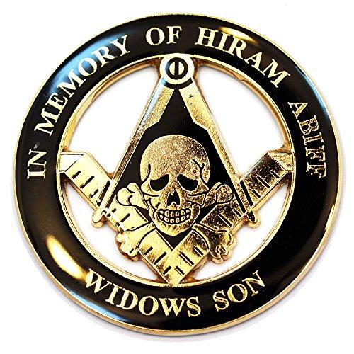 Masonic 'In Memory Of Hiram Abiff' Skull Auto Emblem (Black Widow Car Emblem compare prices)
