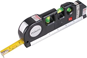 Laser level, Multipurpose Laser tape measure Line 8ft+ Tape Measure Ruler Adjusted Standard and Metric Rulers Update Batteries MICMI A80 (Laser level)