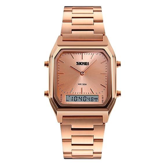 fresco agradable cuarzo rosa reloj ocasional pantalla dual de los hombres de oro y el reloj digital para el vestido de los hombres de moda: Amazon.es: ...