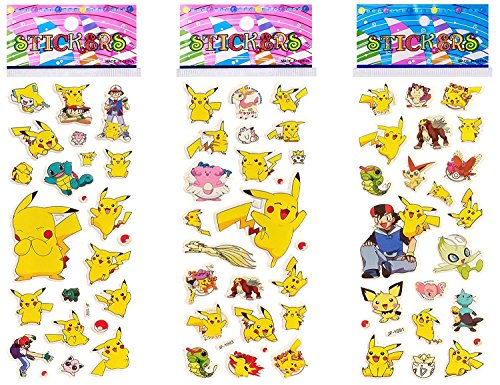 Party Pack Decal (Pokemon 3D Puffy Dimensional Scrapbooking Party Pack Stickers Pikachu Edition (3 Sheets))