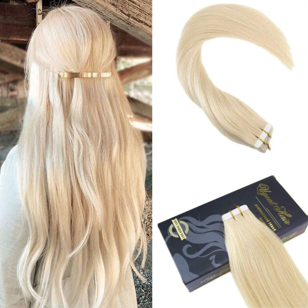 Ugeat 18 20Pcs 50Gram Tape in Platinum Blonde Color #60 Real Human Hair Extensions Seamless Skin Weft Thick End Tape in Hair Extensions Weihai Ugeat Hair